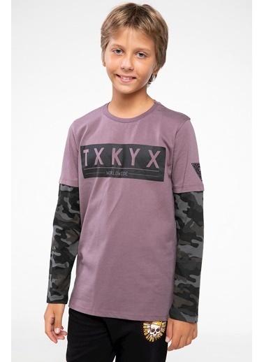 DeFacto Mini Me Kolları Kamuflaj Desenli Uzun Kollu T-shirt Mor